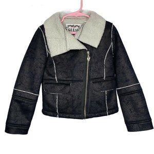 Guess Girls Faux Shearling Coat Black Size 6X Jack